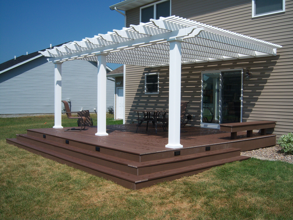 16x20 Attached white vinyl pergola attached to house - 7 ...